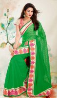 Green-Embroidered-Faux-Georgette-Saree-FD-1754-381 by ethniclover