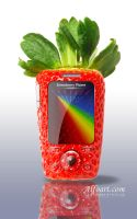 Funny Strawberry cell phone by AlexandraF