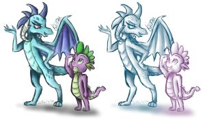 MLP: Ember and Spike (sketch) by KikiRDCZ