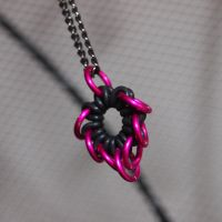 Pink Bleeding Heart Flower Pendant by ofmyhats