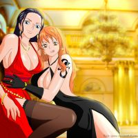 Robin and Nami in evening dresses by Reito-sama