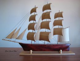 Hand Carved, Hand Made Clipper Ship by mferraton