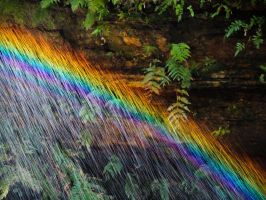 Rainbow in the water drops by Ajumska