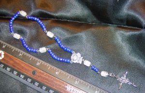 Mini Rosary: Peacock Blue by DKayCrafts