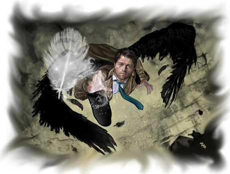 Castiel - The last white feather by LadyMintLeaf
