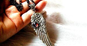 Angel Wing Necklace with Fire Opal Ornate by artistiquejewelry