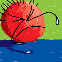 Sad red ball by d-ranged