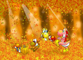 Yoshis in Autumn by Warcheeso