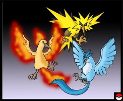 Articuno, Zapdos and Moltres by ZappaZee