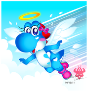 Giftart: Lightblue Yoshi by Bowser2Queen