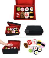 Mini Sushi Plushies and Bento Box by SewDesuNe