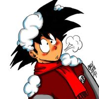 Goku in winter with a red nose by monicalynnevallejo