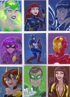 Superheroes sketchcards by LEXLOTHOR