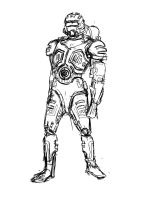 Sci Fi Soldier Sketch by mhofever