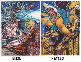 Kaiju Sketch Card Trades by fbwash