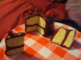 Tiny Polymer Clay Cake by DeathCrumpet