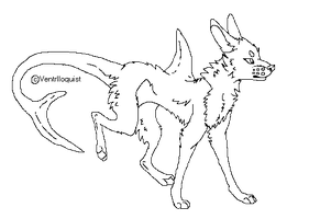 SharkDog Pixel Lineart -Free to use- by VentriIoquist