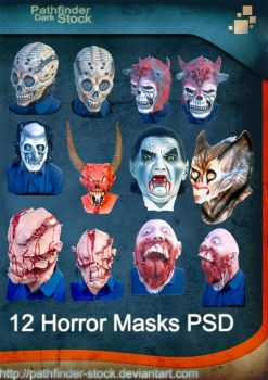 12 Horror Masks PSD Pack by Pathfinder-Stock