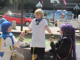 Vocaloid Photoshoot: Kaito x Len x Gakupo by rockleeofthesand