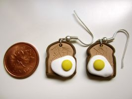 Eggs On Toast Earrings by FlamingChickCreation