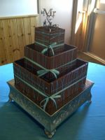 Brown and Blue Wedding Cake by estranged-illusions