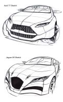 Audi T7 and Jaguar XR sketches by TonyWcK