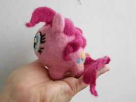 Needle Felted Pinkie Pie Chubby (Side) by MaijaFeja