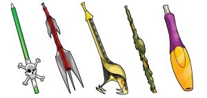 Sacred Seasons Weapons by SketcheeBizniz