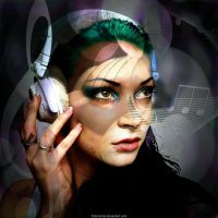 Headphone Lady by Fotomonta