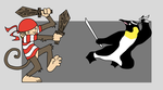 Pirate Monkey vs Ninja Penguin by kitty-chan