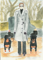 A Man With Dogs by memoire-blanche