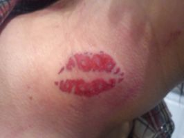 Lips tattoo on neck by Malitia-tattoo89
