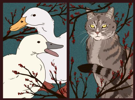 Christmas Ducks and Cat by Silvre