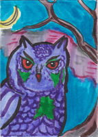 Winter Owl ATC by AluminumSunset