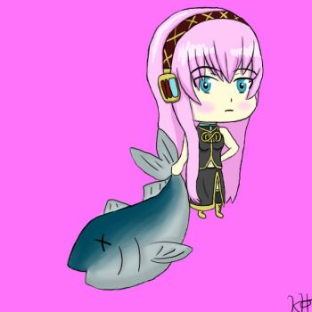 (Vocaloid 8) Chibi Luka and Her Fish by MidnightCatK