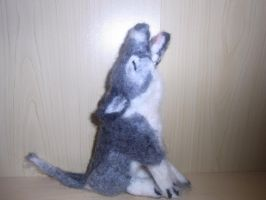 Needle felted grey wolf plushie in howling pose by ArcticIceWolf