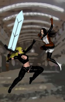 Magik + X23 Sparring by Sand3