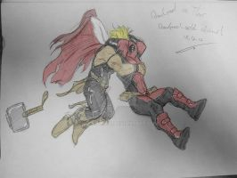 Deadpool vs Thor sketch 18.12.12 - colored by itamar050