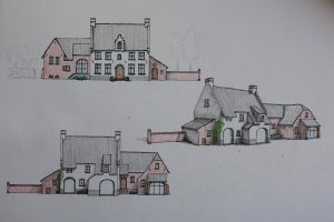 Flemish style house drawing by AllmightySkazi