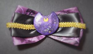Sparkly Purple Moon Cat Hair Bow by sakkysa