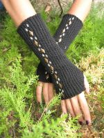 Fingerless gloves Black by DimitrasArts