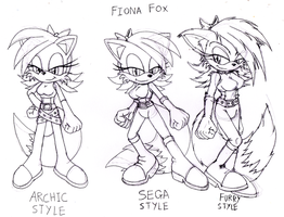 fiona fox in 3 art styles by DarkHedgehog23