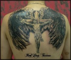 Jesus Back tattoo by Reddogtattoo