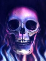 Airbrushed Skull With Flames by JennyHutchinson