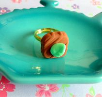 Ring sweets chocolate with leaf handmade by CreaBia
