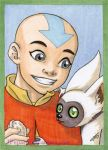 Aang and Momo ACEO by JPepArt