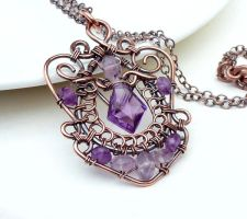 Gothic copper wire wrapped amethyst necklace by CreativityJewellery