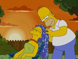 Homer Simpson shampoo her hair by Spartandragon12