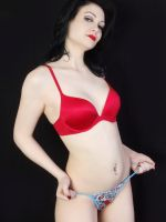Pale Wht Grl Red Bra-Thong by Snapfoto