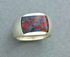 Sterling Gembone Inlay Band by jessa1155